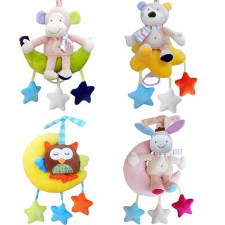 Baby Wind-up Musical Stuffed Animal Stroller Crib Hanging Bell with Music Box Plush Toy Gift for