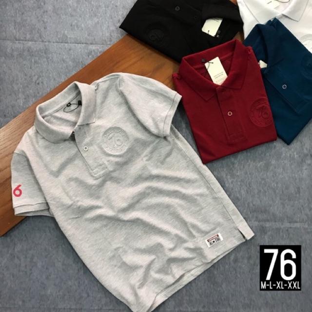 Áo thun cổ bẻ logo dập 76 - Áo ngắn tay có cổ- áo thun co dãn 4 chiều