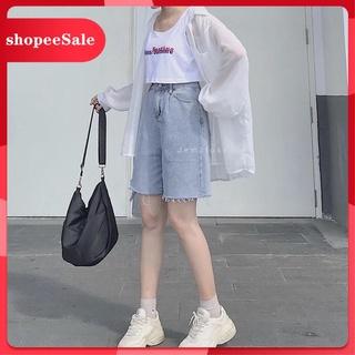 [Flash sale] [Ảnh Thật] Quần short jean bò nữ dáng ngố lửng ống rộng chất bò trơn mền dày sịn size S - M - L basic dễ ph thumbnail