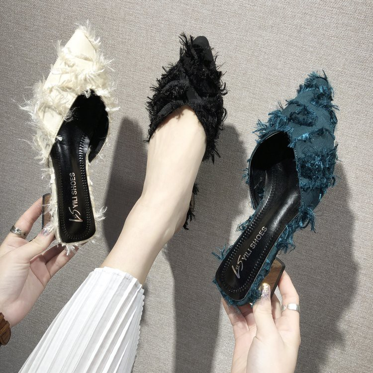 Chic slippers women wear wild women's shoes thick with half drag fashion pointed sandals female