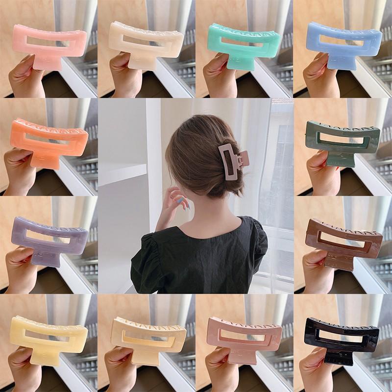 Kẹp tóc nữ hàn quốc hot trend nhựa vuông  kiểu dáng hìlàm từ acrylic, kẹp càng cua nhiều màu tiemmaimeo1987