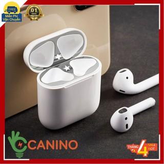 Đồ bảo vệ FREE SHIPMiếng dán bảo vệ bằng kim loại mạ vàng siêu mỏng chống bụi cho tai nghe AirPods Canino