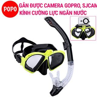 Bộ kính lặn GOPRO, Ống thở ngăn nước, MẮT KÍNH CƯỜNG LỰC, gắn được GOPRO, SJCAM POPO Collection