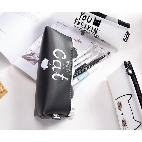 HB2 Hộp bút túi viết bóp viết silicon cỡ trung hộp bút mèo hộp bút dễ thương có chữ