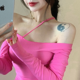 Shoulder long sleeves show thin white life rose red buttock dress