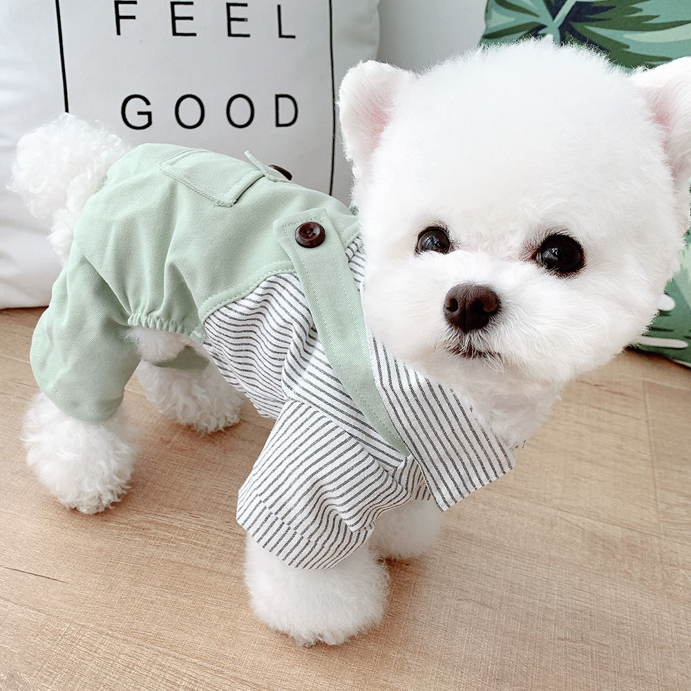 Pet Bichon Con chó nh? Teddy Pomeranian Dog Qu?n áo Mùa xuan / Mùa hè Day ?eo b?n chan m?ng áo s? mi