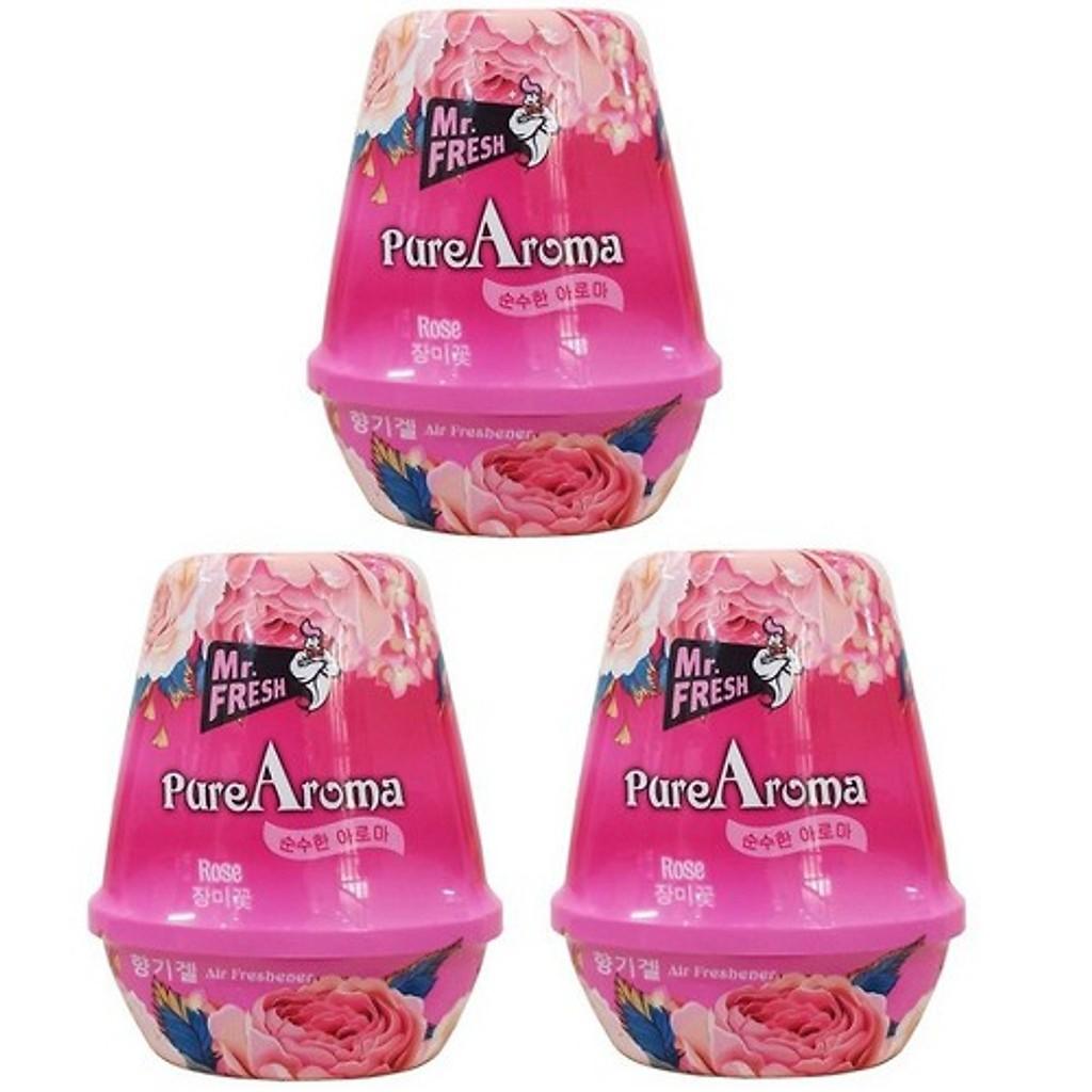 Bộ 3 Sáp Thơm Khử Mùi Phòng Pure Aroma 180g Hương Hoa Hồng - Thương hiệu Hàn Quốc (Mẫu mới)