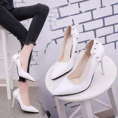 Giày cao gót nữ 10 cm da bóng có 3 màu: Trắng, Đen va