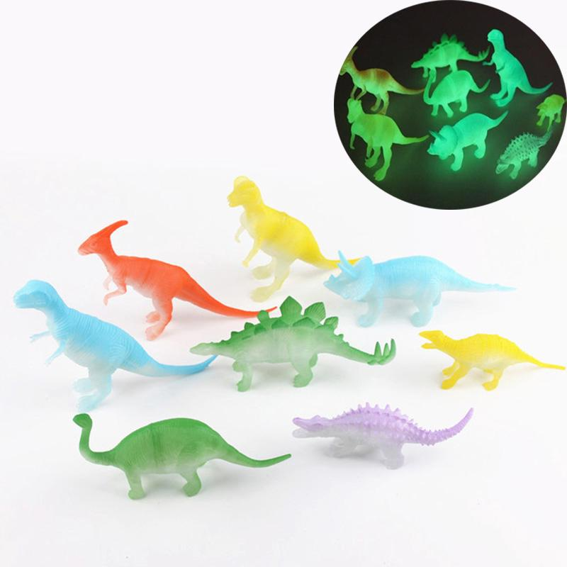 Plastic Mini Jurassic Noctilucent Dinosaur Toys Kids Action & Figures Toy 8x/set