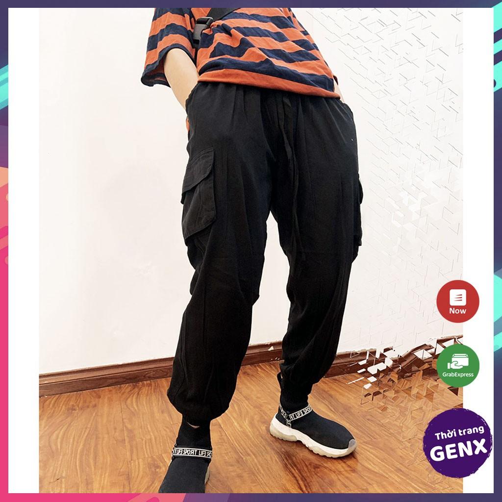 Quần jogger nữ túi hộp, quần jogger nam kaki dây rút bo gấu thời trang - GENX05
