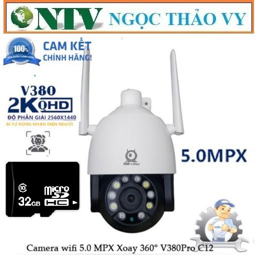 CAMERA IP WIFI NGOÀI TRỜI CHỐNG NƯỚC V380 Pro C12 5.0 Mpx, Xoay 360 độ, theo dõi chuyển động, ban đêm có màu khi bật Le