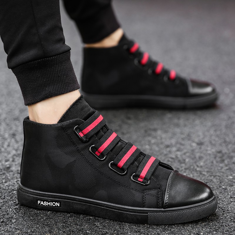 High-top canvas shoes white shoes men's casual shoes boys sh