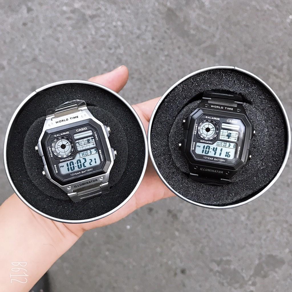 Đồng hồ nam Casio AE 1200-WHD classic chống nước , dây thép không gỉ (dây bạc mặt đen)-BON WATCHES