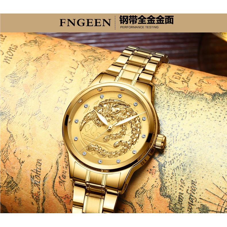 Đồng hồ cặp nam nữ dây thép thương hiệu FNGEEN Mặt Rồng Vàng (Dây Vàng, Mặt Vàng)