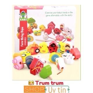 đồ chơi gỗ xâu hạt size to, gỗ mịn 2 chủ đề