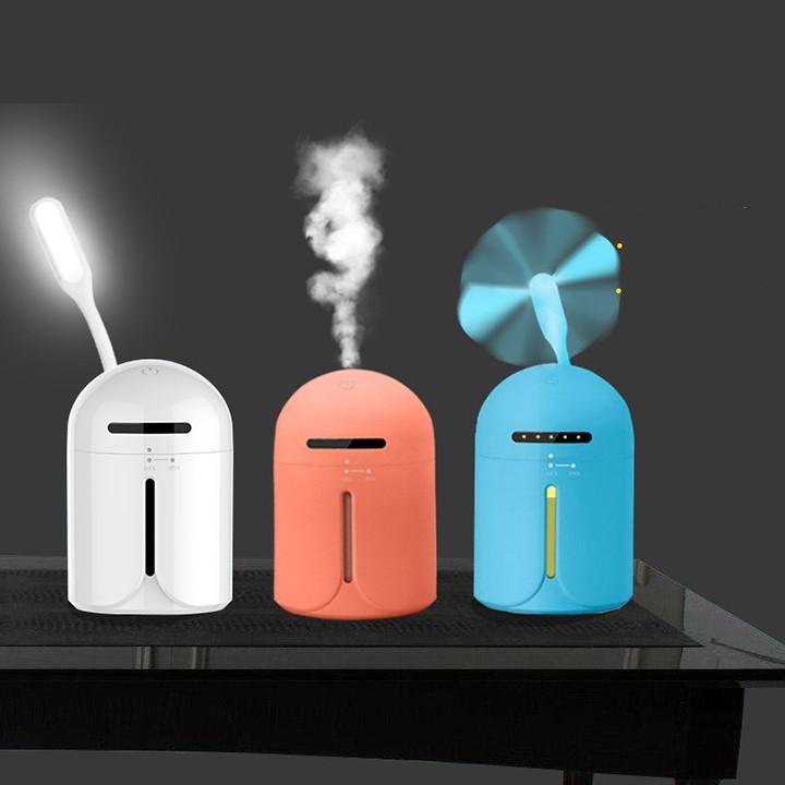Máy phun sương tạo ẩm 3 tác dụng + đèn led + quạt usb