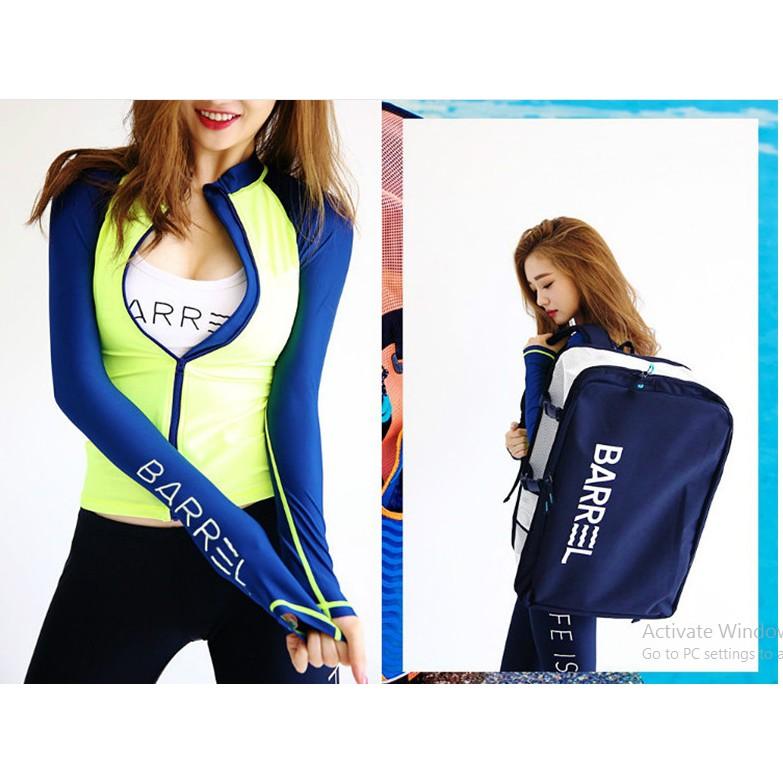 (CÓ SẴN, clip) đồ bơi/ bikini dài tay áo khoác 4 chi tiết Xanh