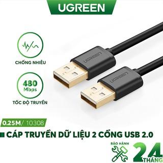 Dây cáp truyền dữ liệu 2 cổng USB 2.0, dài từ 0.25-3m chính hãng UGREEN US102