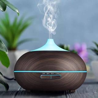 Máy xông tinh dầu siêu âm hình bí ngô, vân gỗ nâu dung tích 550ml