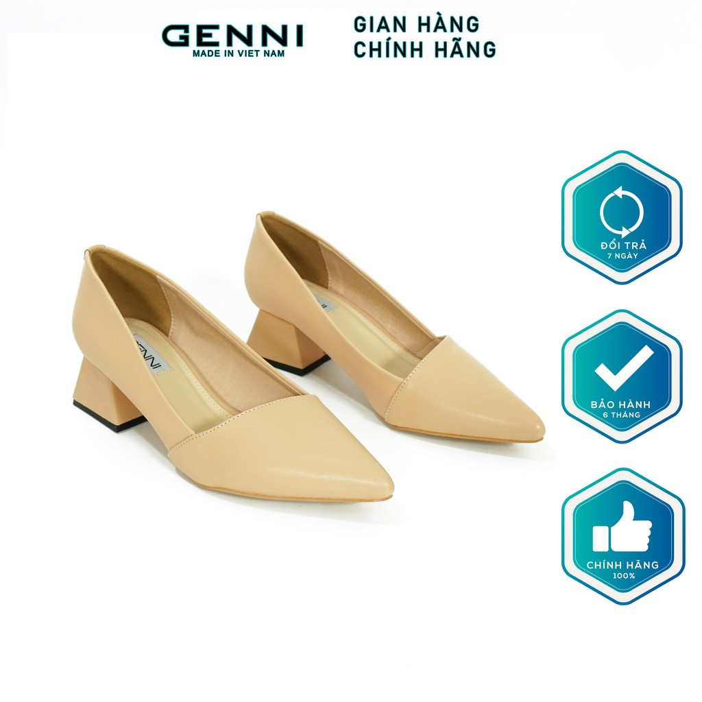 Giày mũi nhọn đế vuông 3p GE287 - Genni