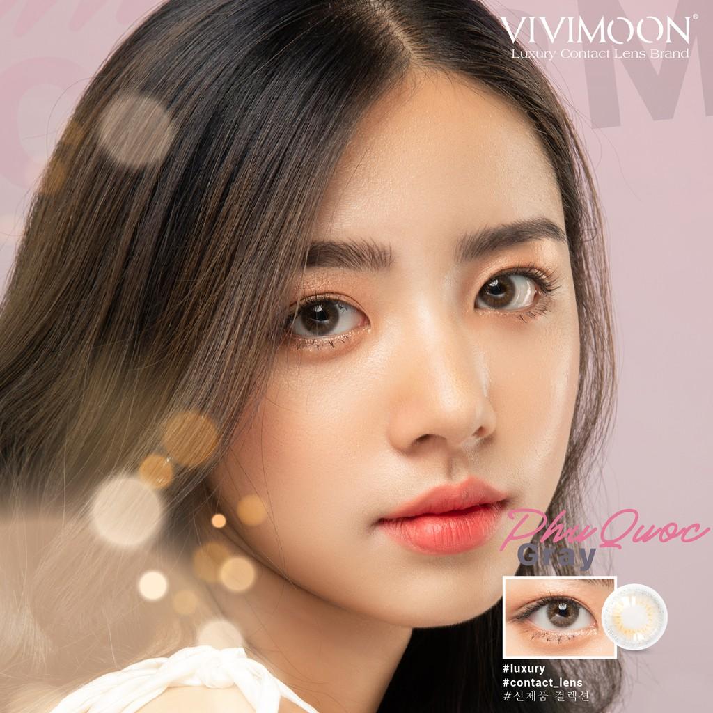 Kính áp tròng Hàn Quốc VIVIMOON Phú Quốc Gray 13.4 mm - Lens Mắt Cận Xám