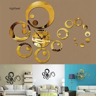 Đồng hồ dán tường họa tiết 3D tròn tráng gương dễ thương