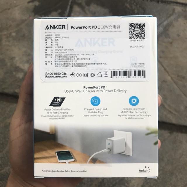 Sạc Anker PowerPort PD1, 18w-A2019 - Chính Hãng