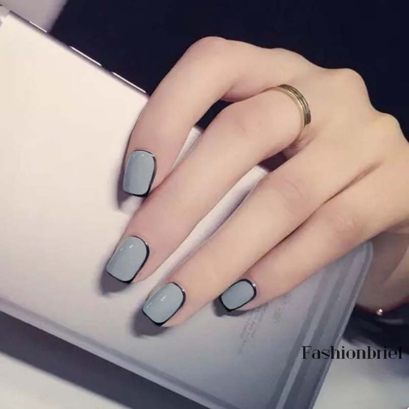 Bộ 24 móng giả sơn màu xám viền đen thời trang cho nữ | Shopee ...