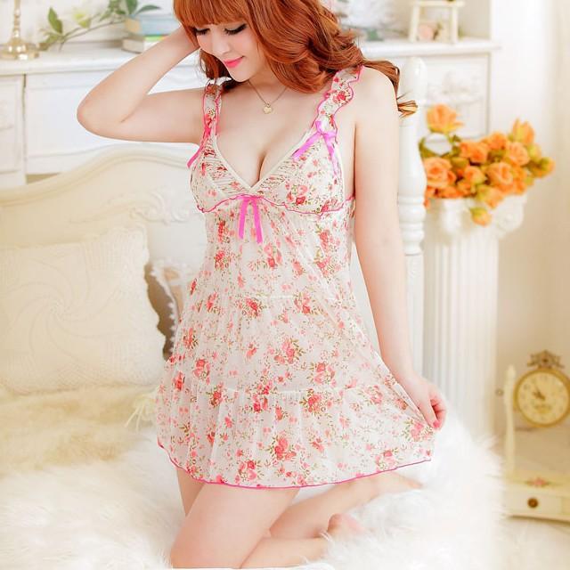 Áo ngủ voan hoa trắng hồng CDAN41