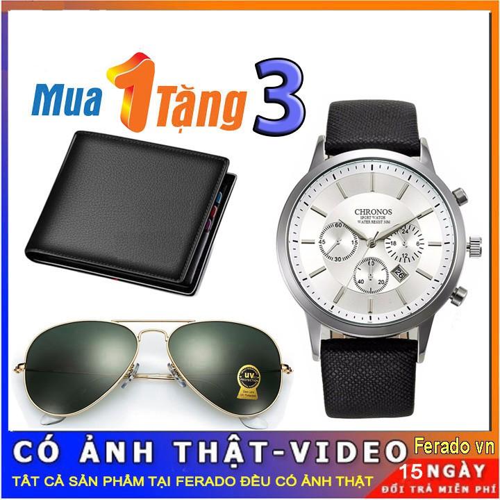 Đồng hồ nam Chronos tặng ví da và kính mắt thời trang