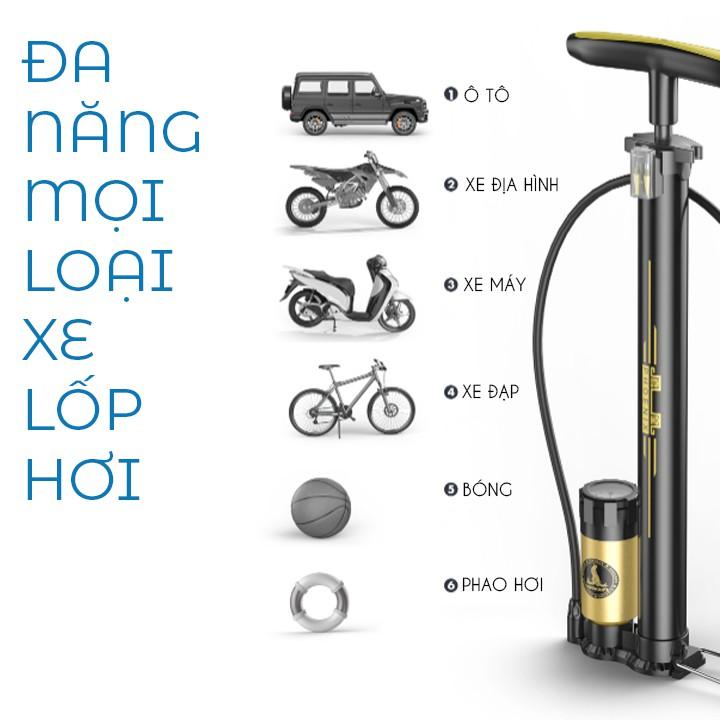 Bơm xe đạp xe máy ô tô và bóng khí bằng chân đa năng thân nhôm có đồng hồ