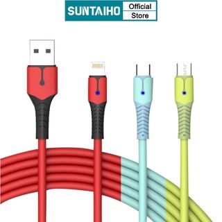 Dây Cáp Dữ Liệu/ Sạc Nhanh Suntaiho Silicone USB 3A Có Đèn Chiếu Sáng Dành Cho iPhone 12 Mini iOS/Type C/Micro/Android