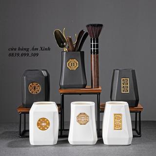 Bộ dụng cụ pha trà đạo Bộ cung nhãn bằng đồng & gỗ mun đen thumbnail