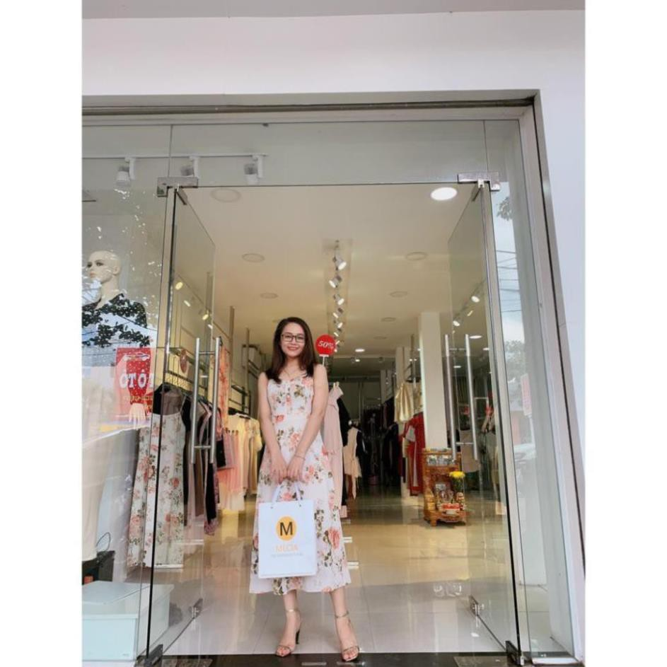 Mặc gì đẹp: Sang chảnh với Váy đầm 2 dây họa tiết hoa MECIA DK713 – đầm nữ thiết kế họa tiết hoa, thắt eo chất liệu mềm mịn đầm dự tiệc sang chảnh