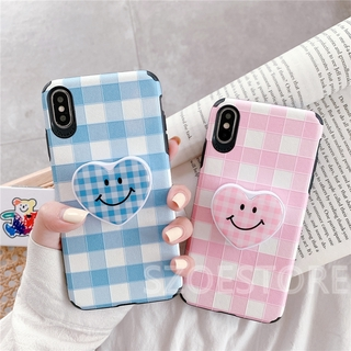 Fresh Grid Pattern Skin-Friendly Silk Pattern Holder Soft Phone Case Cover for iPhone 11 Pro Max X XS XR XSMax 8 7 6 6s Plus SE 2020