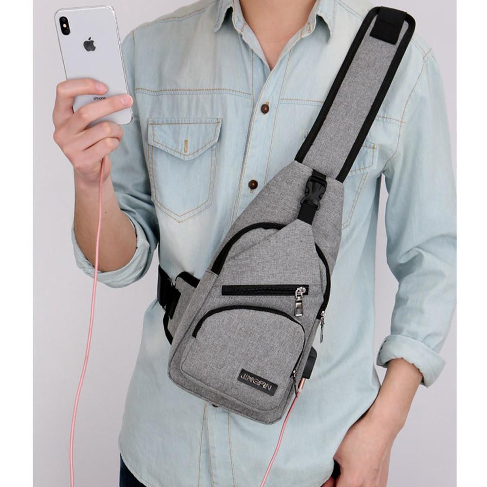 Túi đeo ngực nam(nữ) có cổng kết nối USB-molacovn