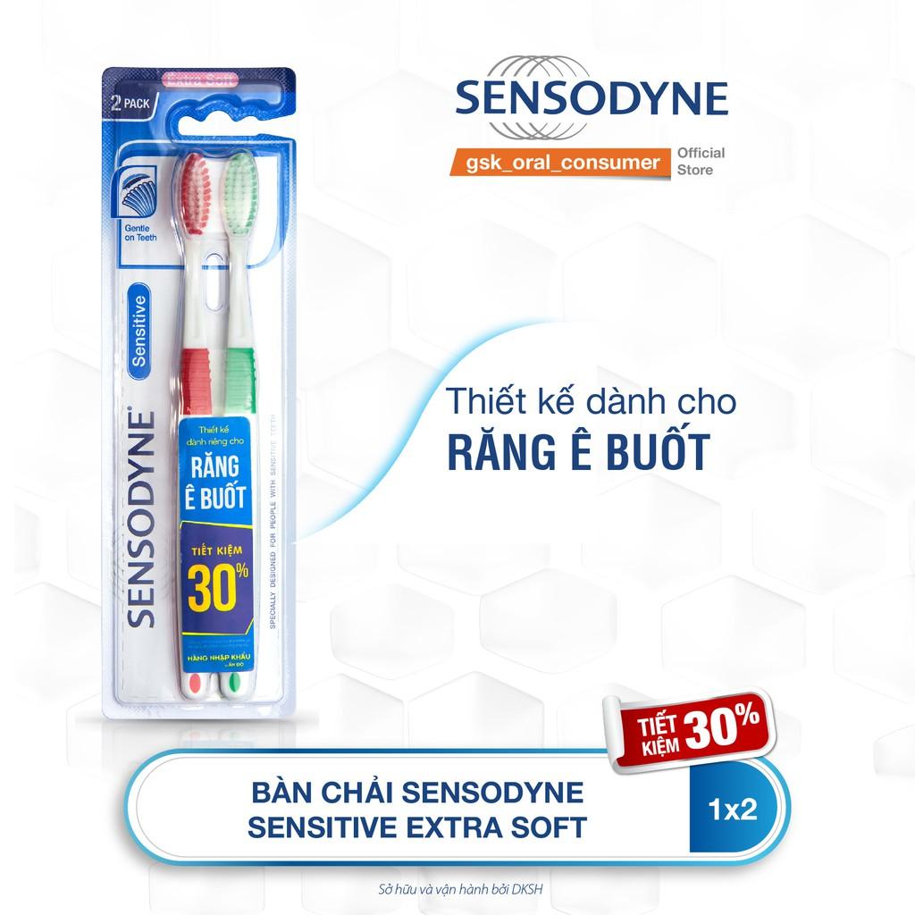 [Mã FMCGMALL giảm 8% đơn từ 250K] Bộ 2 bàn chải đánh răng Sensodyne Ultra Sensitive Ex Soft