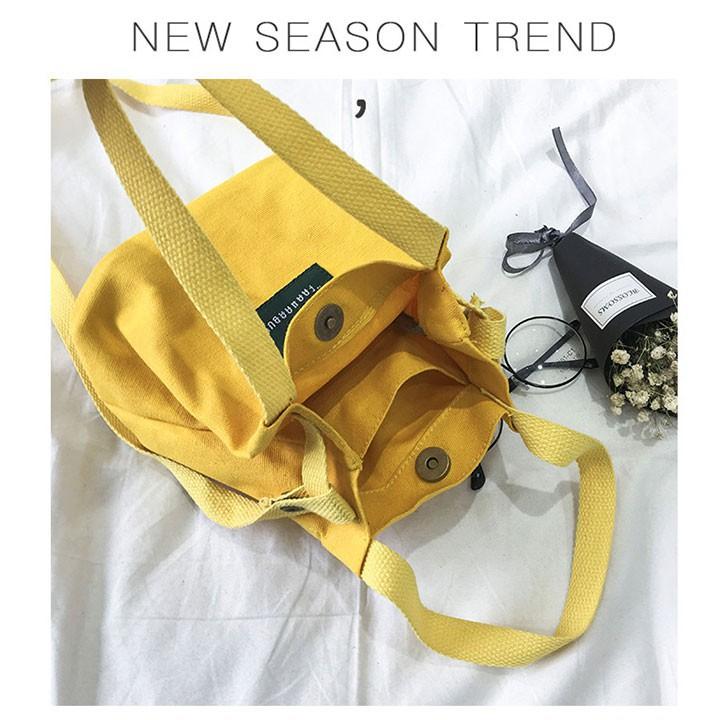 Túi tote living vải đeo chéo nữ giá rẻ kiểu dáng mini hàn quốc, chất vải canvas dày, vừa điện thoại