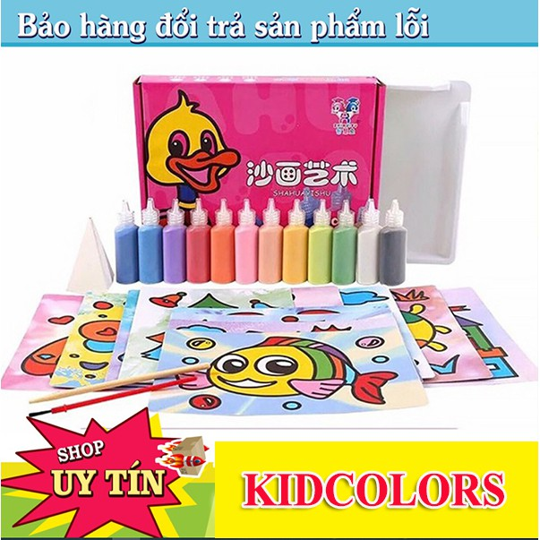Tô màu tranh cát cho bé trai, bé gái (Bộ 12 tranh cát - kèm 12 lọ cát màu)