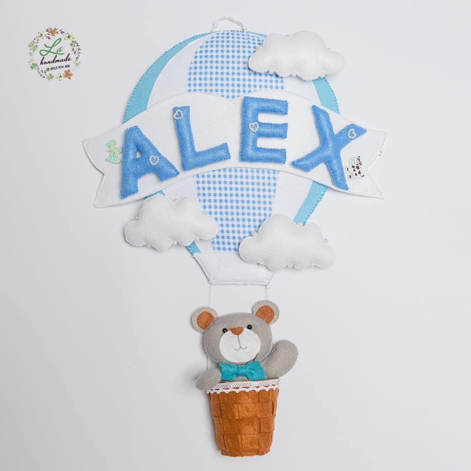 Biển tên khinh khí cầu xanh Treo phòng cho bé