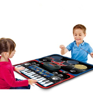Kids 2 in 1 Music Playing Mat with Drums and Keyboard Musical Blanket