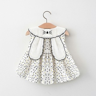 Váy bé gái sát nách Váy bé gái chấm bi tai thỏ D818