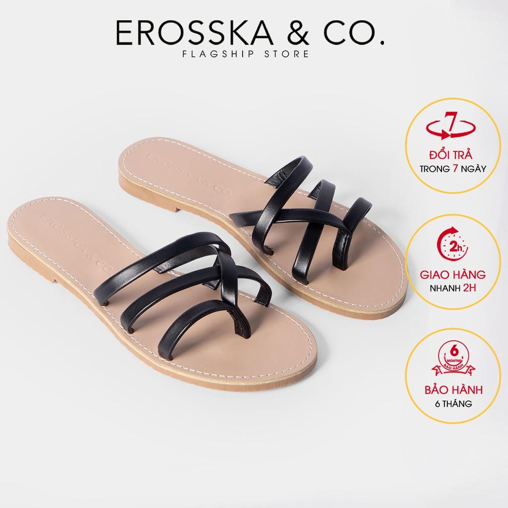 Dép đi biển thời trang Erosska 2021 thiết kế phối dây màu đen _ DE031