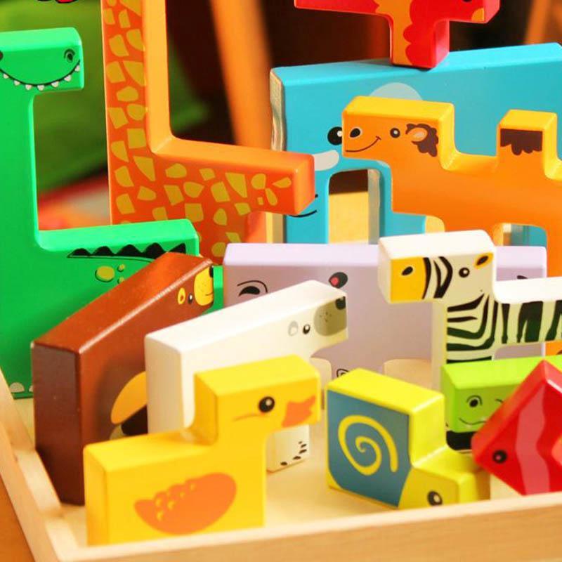 Bộ xếp hình 3D hình động vật bằng gỗ cho bé