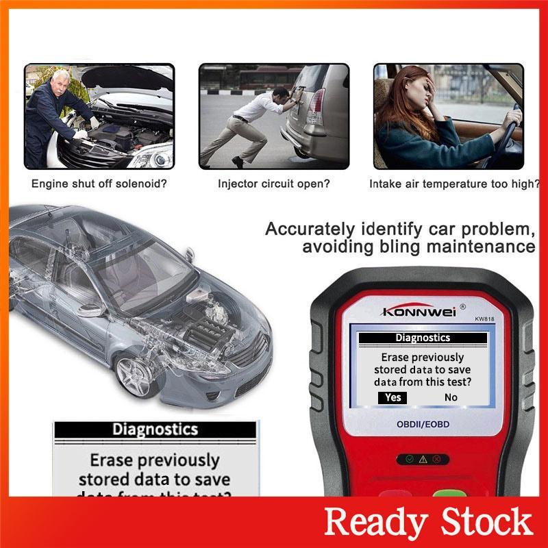 Ready Stock Konnwei KW818 ODB2 Scanner Auto Diagnostic OBD2 EOBD Check Engine MaxiScan MS509