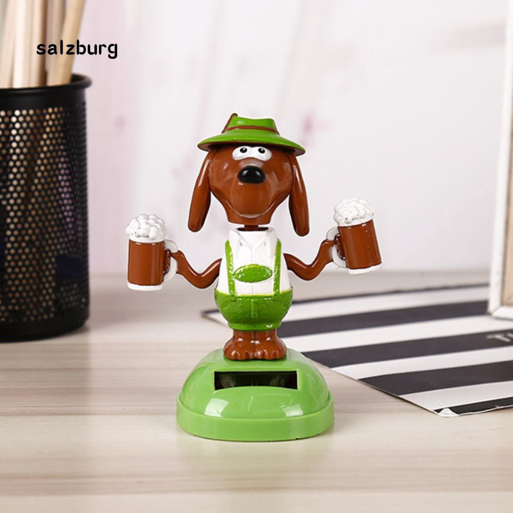 FHUE_Plastic Solar Power Beer Dog Car Ornament Home Decor Flip Flap Pot Swing Toy