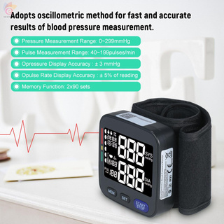 ET U62I Automatic Wrist Blood Pressure Monitor Digital Blood Pressure Meter with Large Cuff Fits 5.3-inch to 8.5-inch Wrist Support 2×90 Sets of Data Record Pulse Machine BP Meter for Medical Household Use