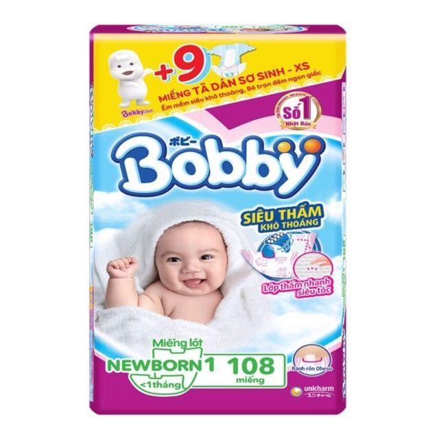 Miếng lót Bobby newborn 1 - 108 miếng + 9 tã dán sơ