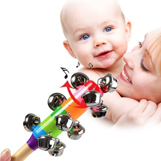 Cute Rainbow Baby Toy Pram Crib Handle Wooden Bell Stick Shaker Rattle 0-2 Years