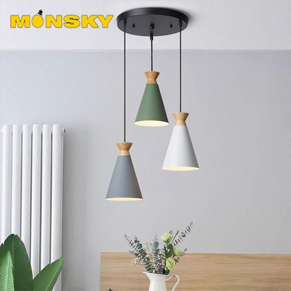 Đèn thả bàn ăn, phòng khách MONSKY SORAKA 3 bóng cao cấp kèm bóng LED chuyên dụng